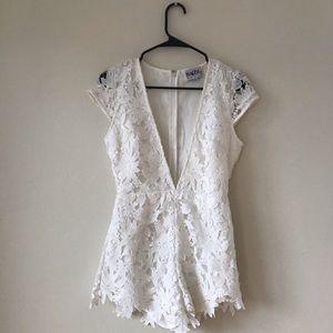 Sabo Skirt White Plunge Playsuit/Romper